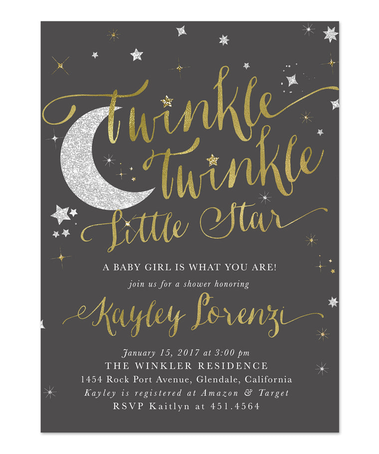 Twinkle Twinkle Little Star Boy or Girl Baby Shower Invitation {Dark Grey}