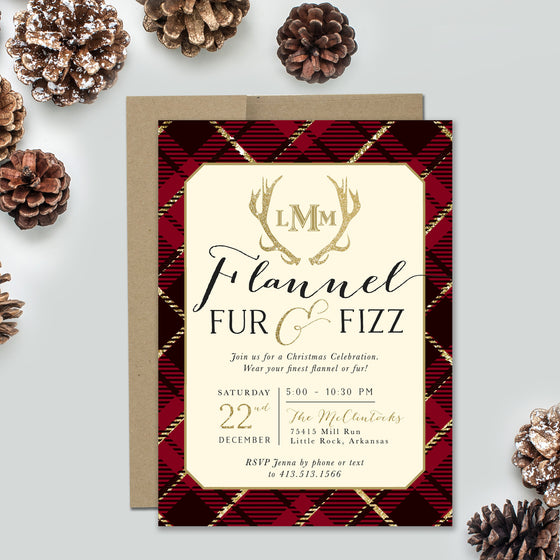 Holiday Flannel, Fur & Fizz Red Plaid Invitation
