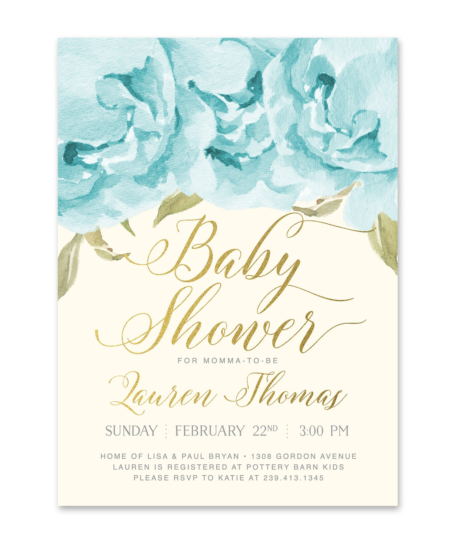 Henley Baby Boy Shower Invitation Blue Roses Gold Sea Paper