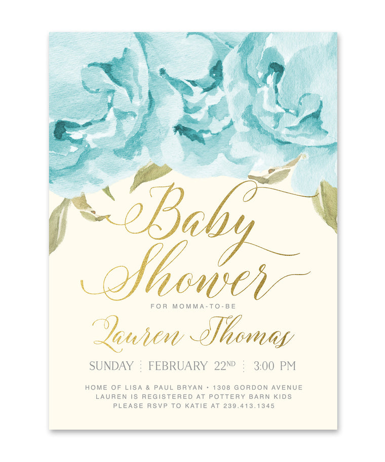 Henley: Baby Boy Shower Invitation, Blue Roses & Gold