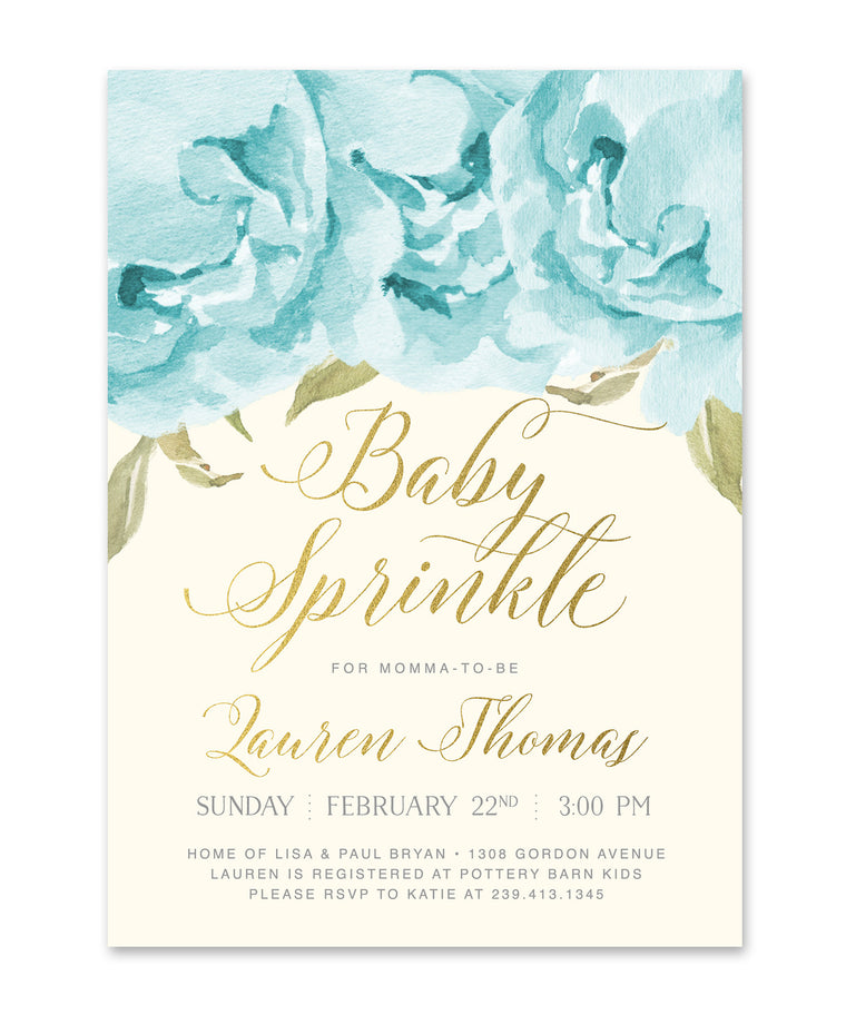 Henley: Baby Boy Sprinkle Invitation, Blue Roses & Gold