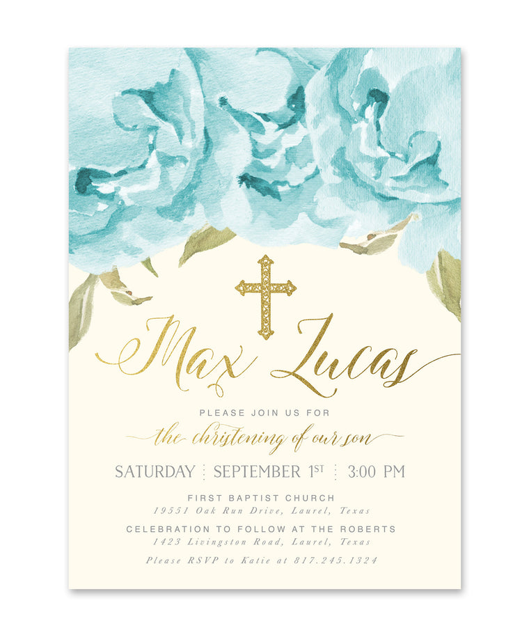 Henley: Boy Christening Invitation, Blue Roses & Gold
