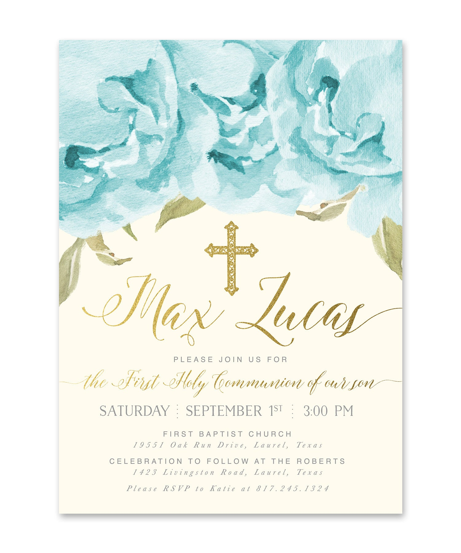 Henley Boy First Communion Invitation Blue Roses Gold Sea