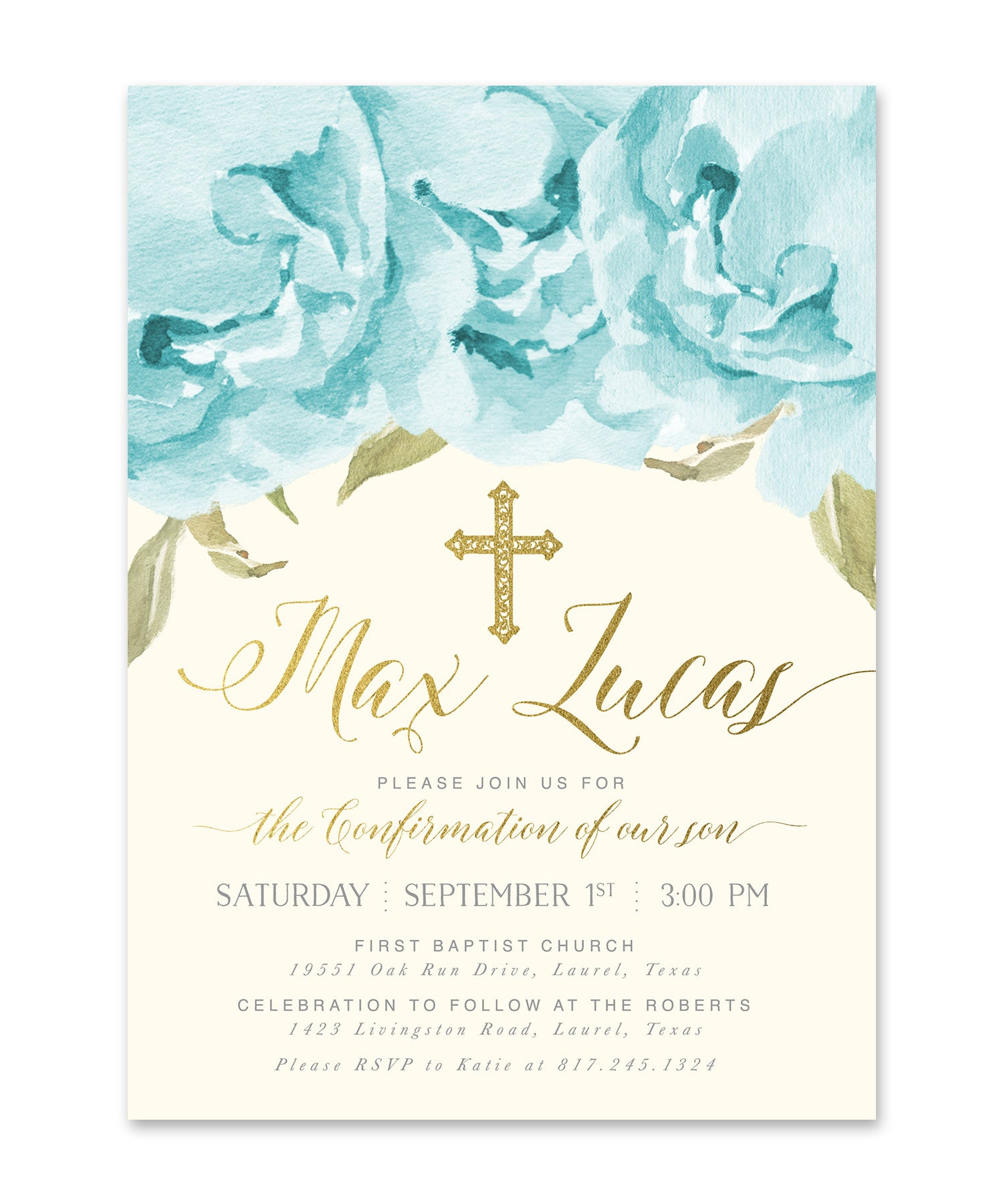 Popular Henley: Boy Confirmation Invitation, Blue Roses & Gold - Sea Paper  KQ26
