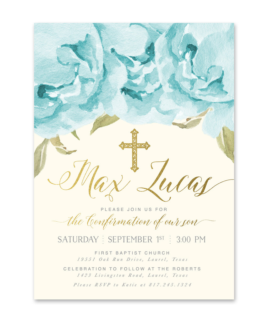 Henley: Boy Confirmation Invitation, Blue Roses & Gold