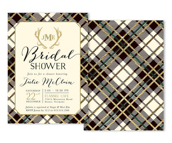 Holiday Flannel: Bridal Shower Invitation {Ivory}