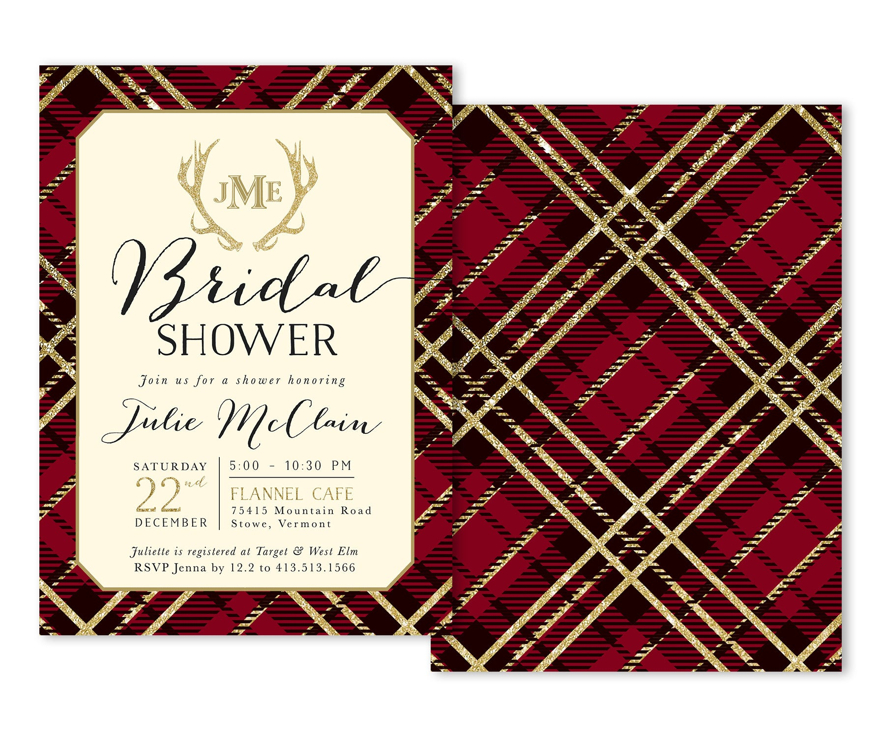 Holiday Bridal Shower Invitation: Red Plaid, Flannel, Antlers ...