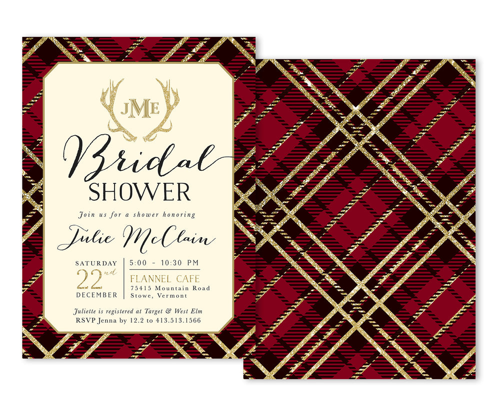 Holiday Flannel: Bridal Shower Invitation {Red}