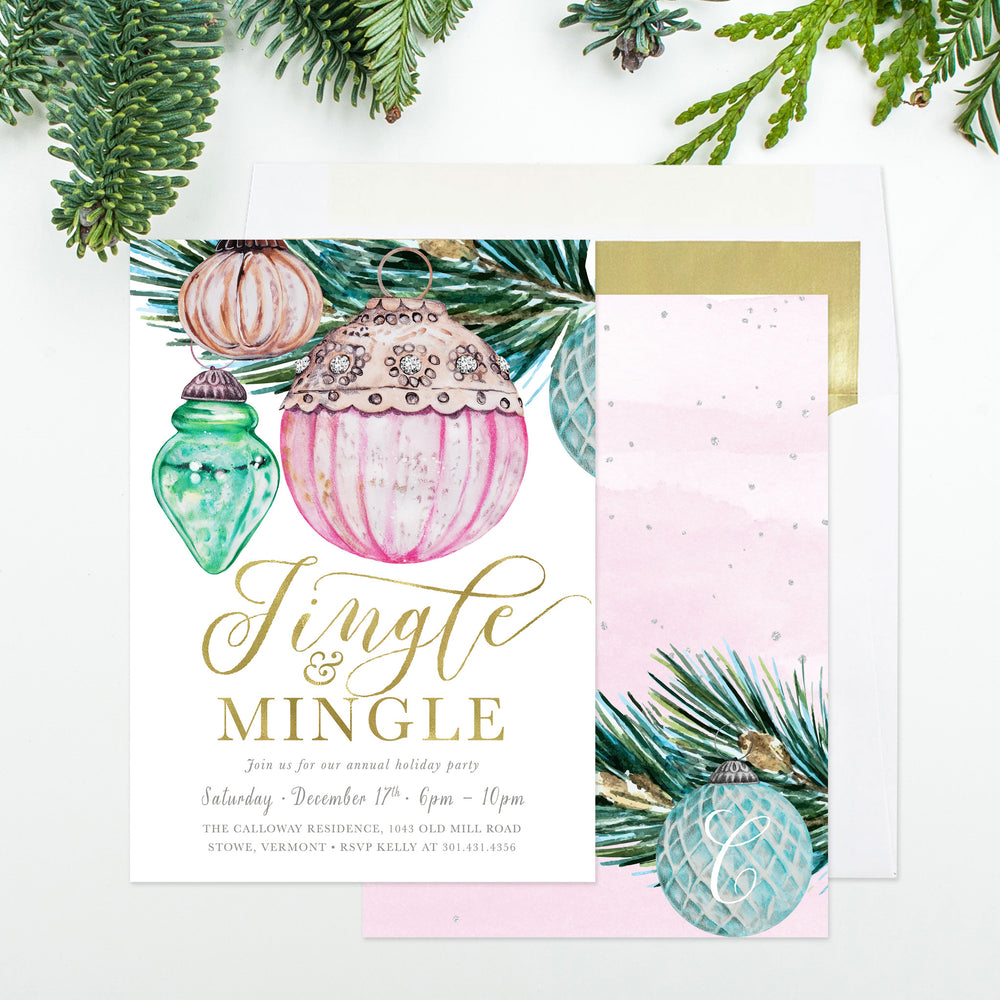 Jingle & Mingle: Holiday Party Invitation, Vintage Watercolor Ornaments & Christmas Tree