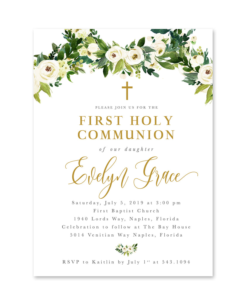 Evelyn: Floral And Greenery First Holy Communion Invitation