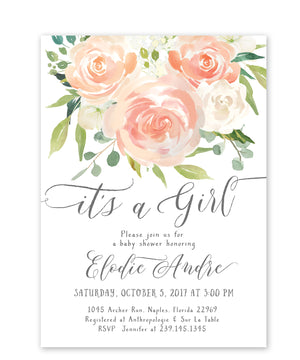 "Elodie: ""It's a Girl"" Baby Shower Invitation"