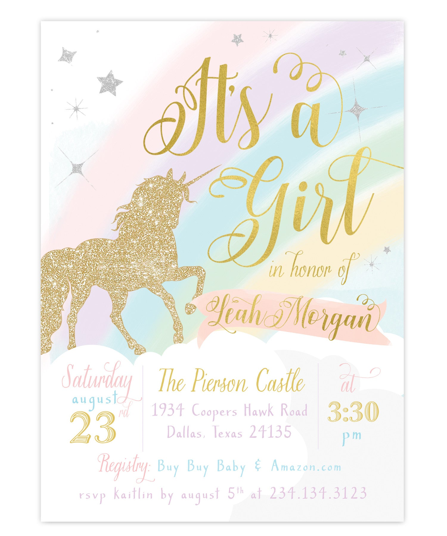 Unicorn baby shower invitation girls unicorn baby shower invite leah unicorn its a girl baby shower invitation filmwisefo