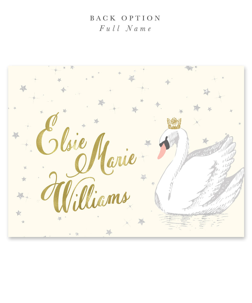 Elsie Swan Princess: Birthday Party Invitation for Girl. Ivory Cream, Gold Crown, Stars