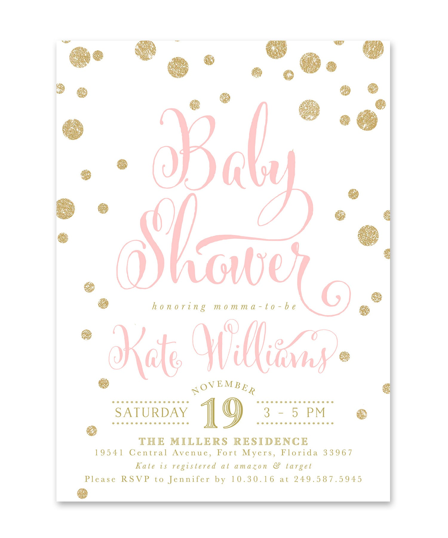 Kate: Baby Shower Invitation, Gold Glitter & Pink Confetti Glam ...