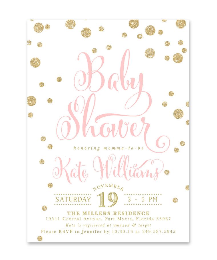 Kate: Baby Shower Invitation, Gold Glitter & Pink Confetti Glam Invite