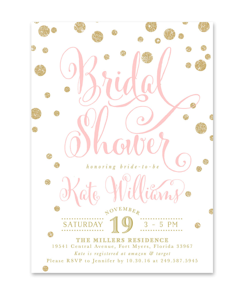 Kate: Bridal Shower Invitation, Gold Glitter & Pink Confetti Glam Invite