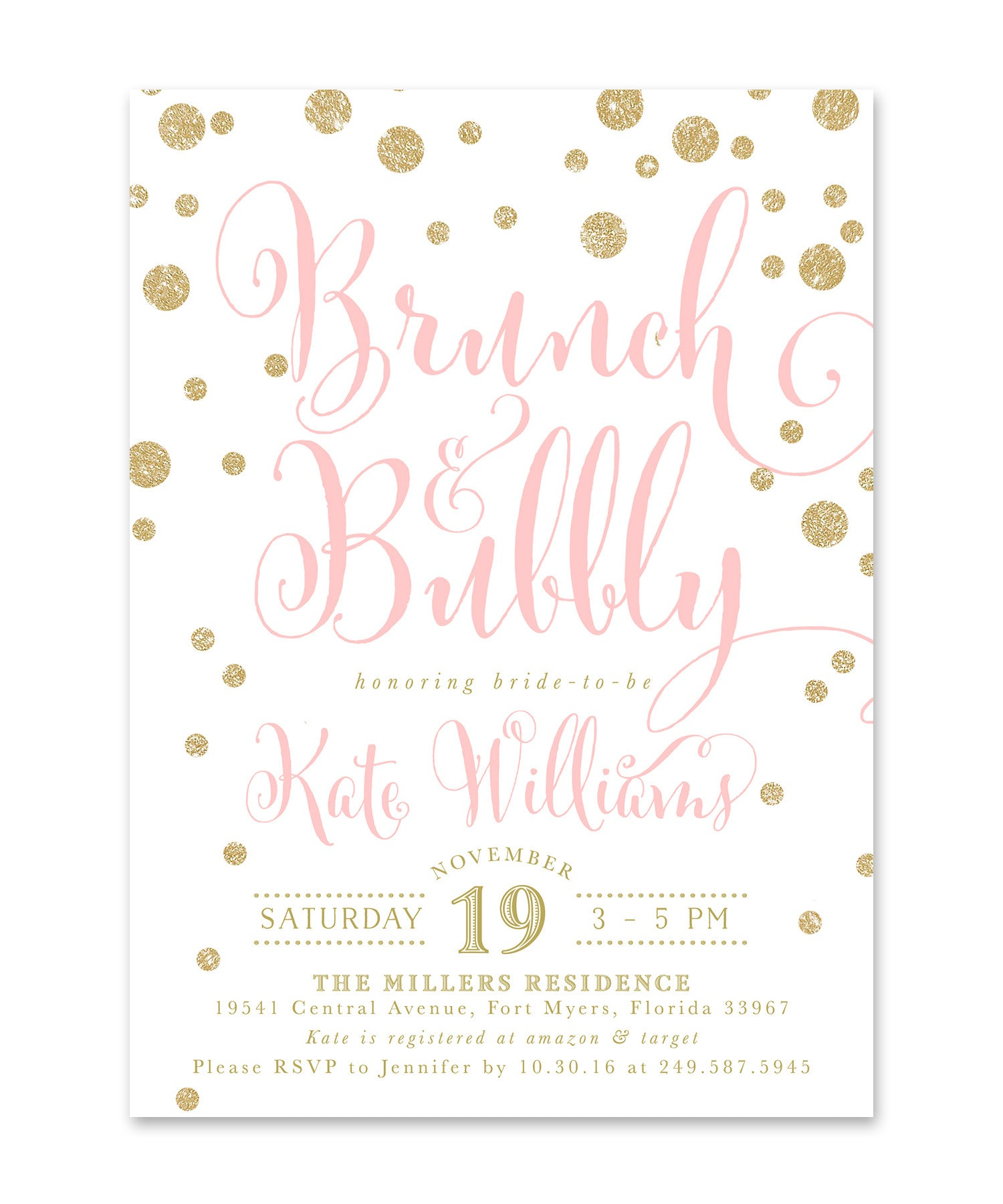brunch and bubbly bridal shower invitations faux glitter bridal