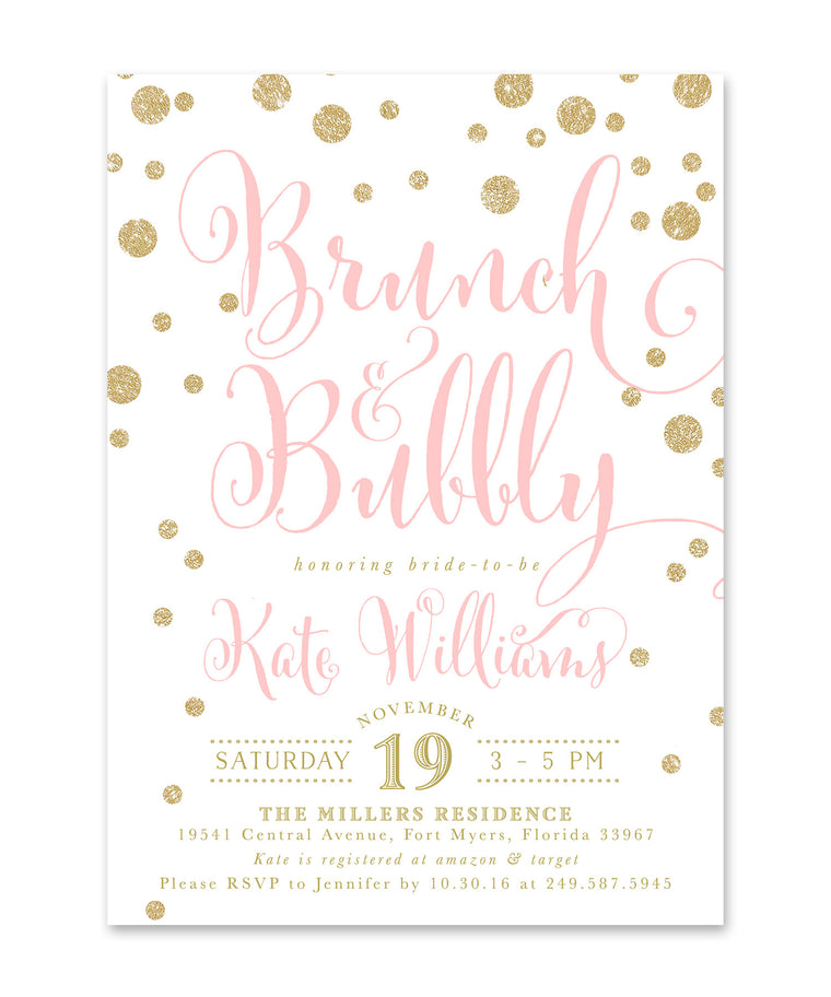 Kate: Brunch & Bubbly Bridal Shower Invitation, Pink & Gold glitter