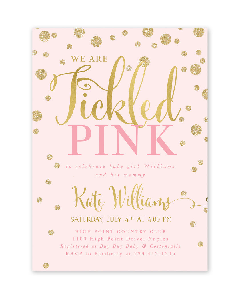 Kate: Tickled Pink Baby Shower Invitation {Gold}