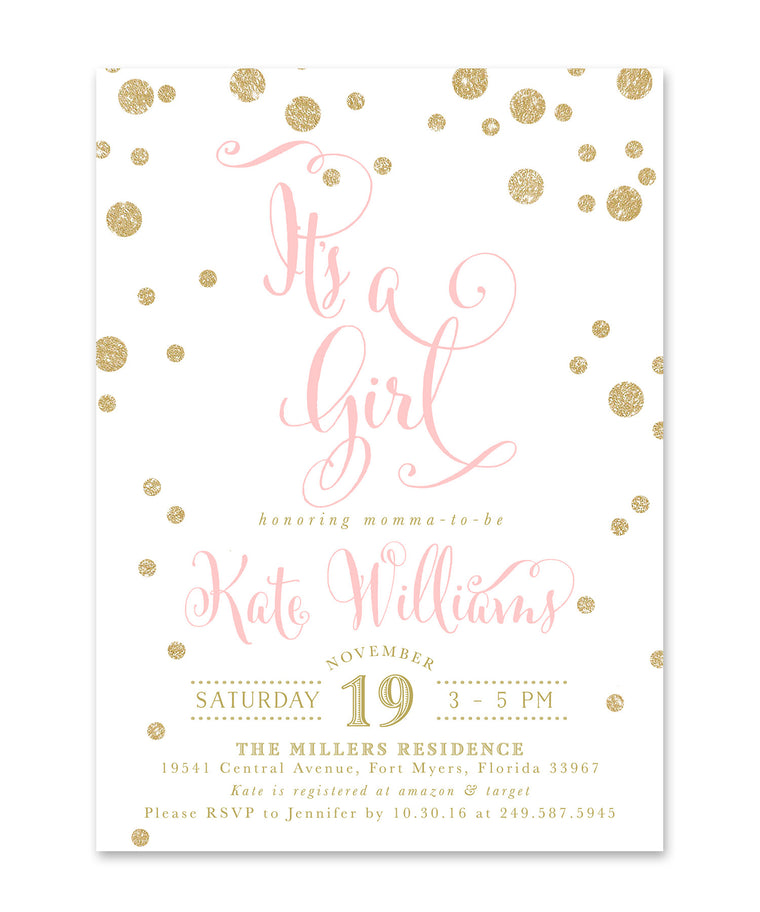 "Kate: ""It's a Girl"" Baby Shower Invitation, Gold Glitter & Pink Confetti"