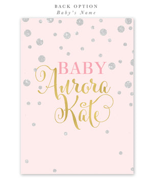 Kate: Tickled Pink Baby Shower Invitation {Silver}