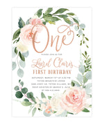 Laurel: Floral Wreath First Birthday Invitation {White & Rose Gold}
