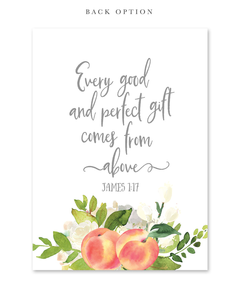 "Peach: ""A Little Peach Is On The Way"" Baby Shower Invitation {Gray}"