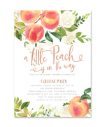 "Peach: ""A Little Peach Is On The Way"" Baby Shower Invitation {Rose Gold}"