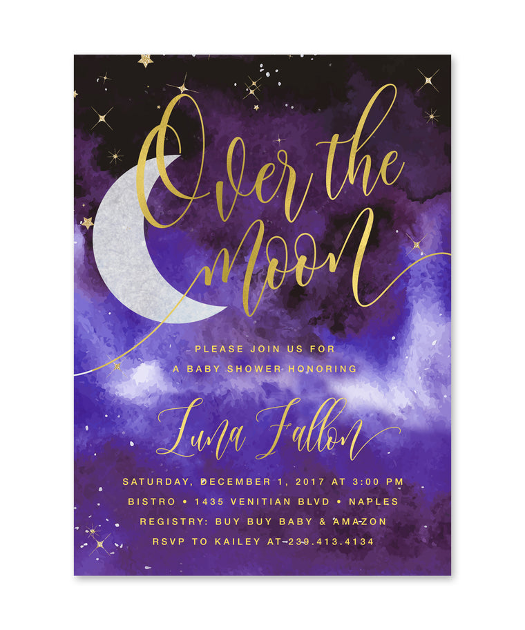 Over The Moon Girl Baby Shower Invitation {Purple}