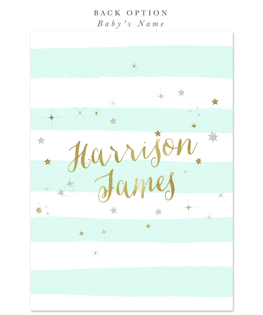Twinkle Twinkle Little Star Boy or Girl Baby Shower Invitation {Mint Stripes}