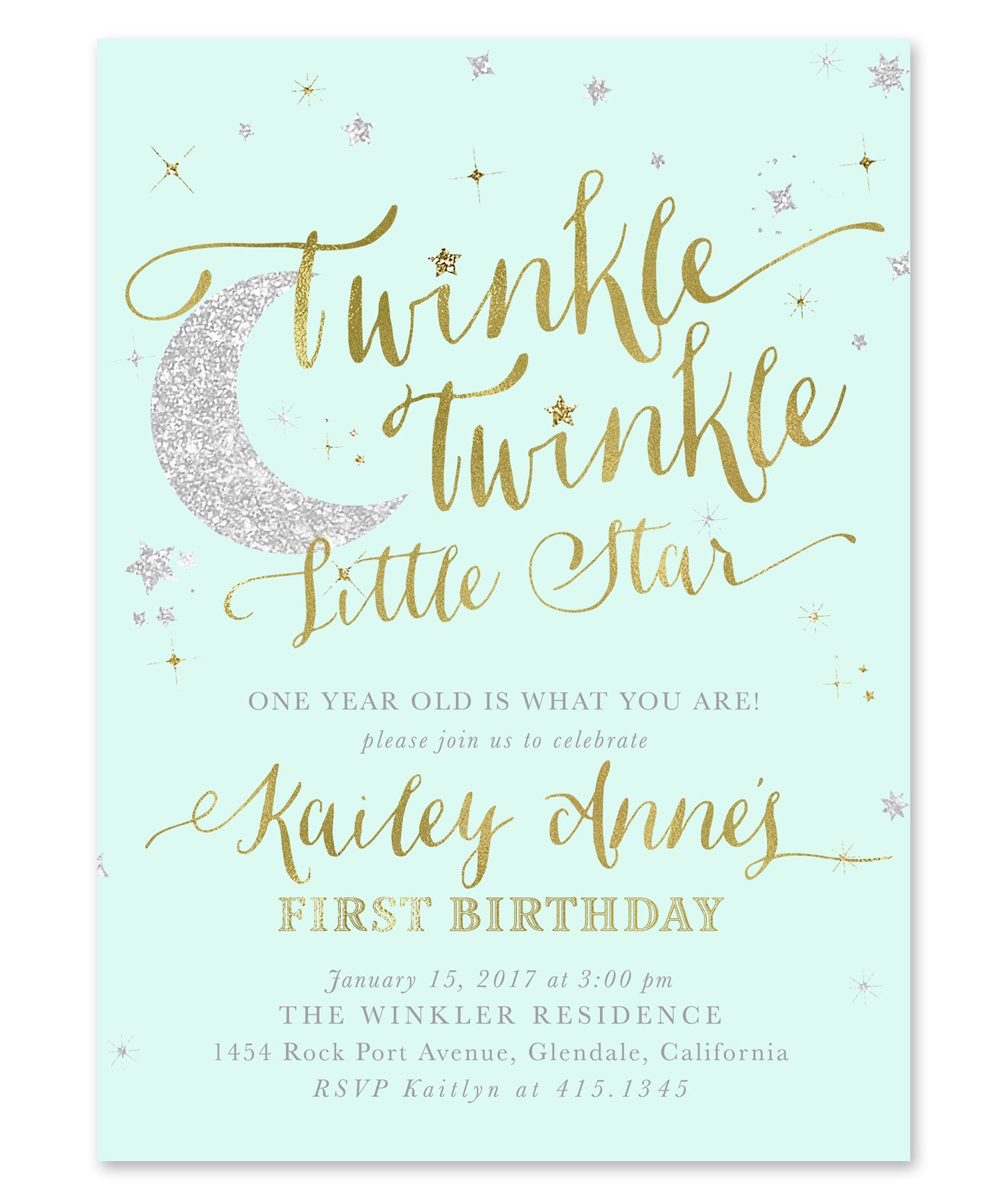 Twinkle Little Star Boy or Girl Birthday Invitation {Mint Green ...