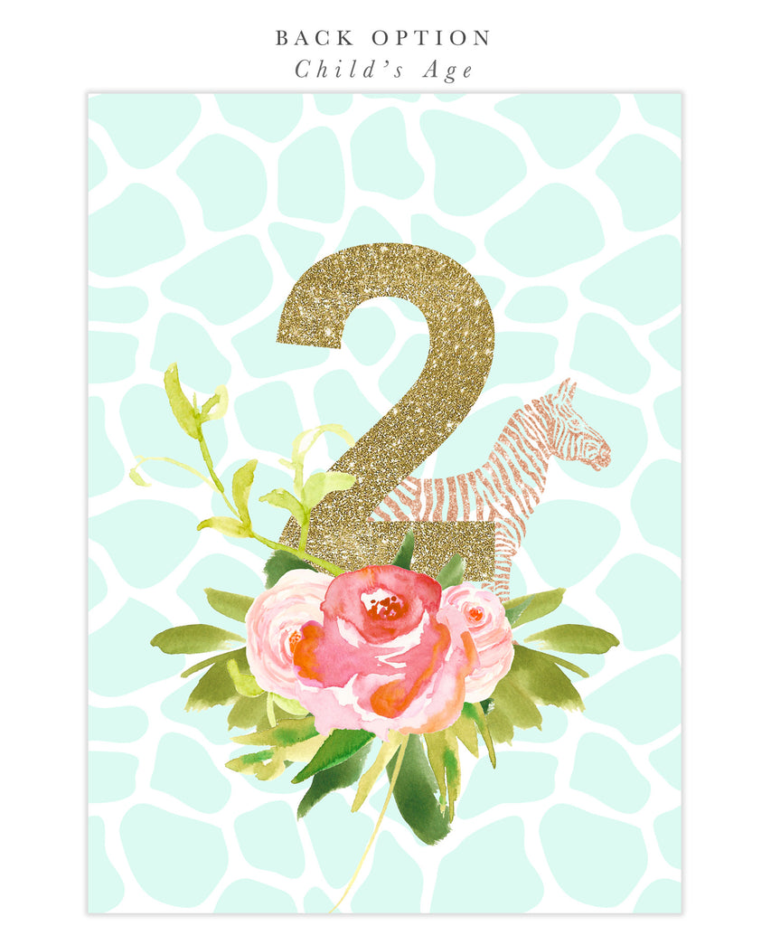 Glam Safari, Jungle Girl Second 2nd Birthday Invitation, Tropical, Flowers, Giraffe, Lion, Elephant, Gold Mint Green Party Invite - Nadia