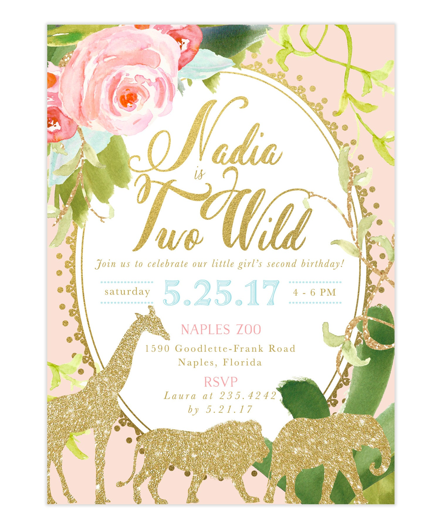 Glam Safari Jungle Girl Second 2nd Birthday Invitation Tropical Flowers Giraffe