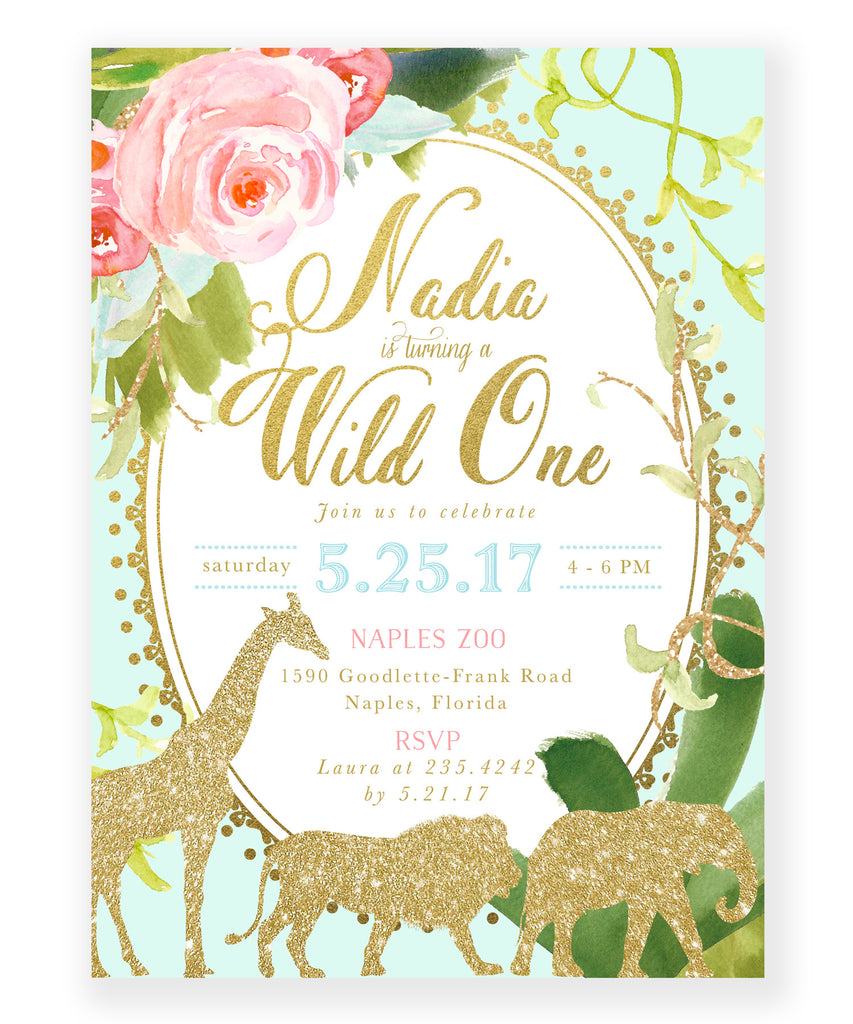 Glam Safari, Jungle Girl First Birthday Invitation, Tropical, Flowers, Giraffe, Lion, Elephant, Gold Mint Green 1st Party Invite - Nadia