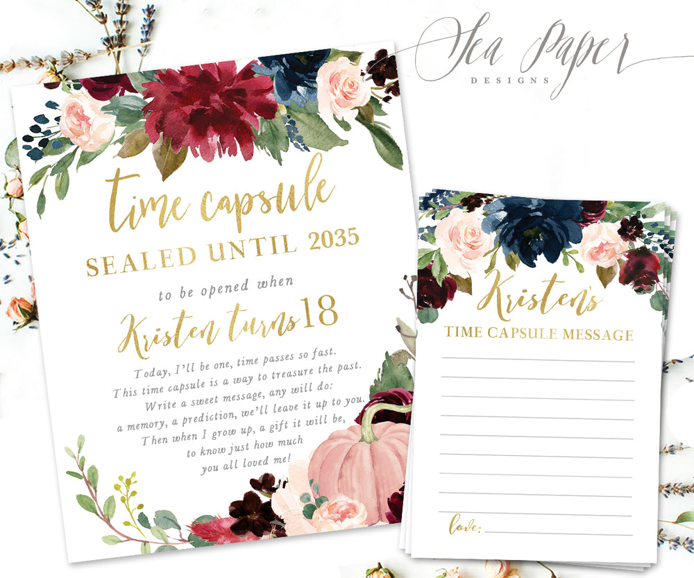 Kristen Time Capsule Sign & Cards {Navy Pumpkin}