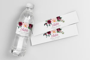 Odette: Water Bottle Label {Burgundy}