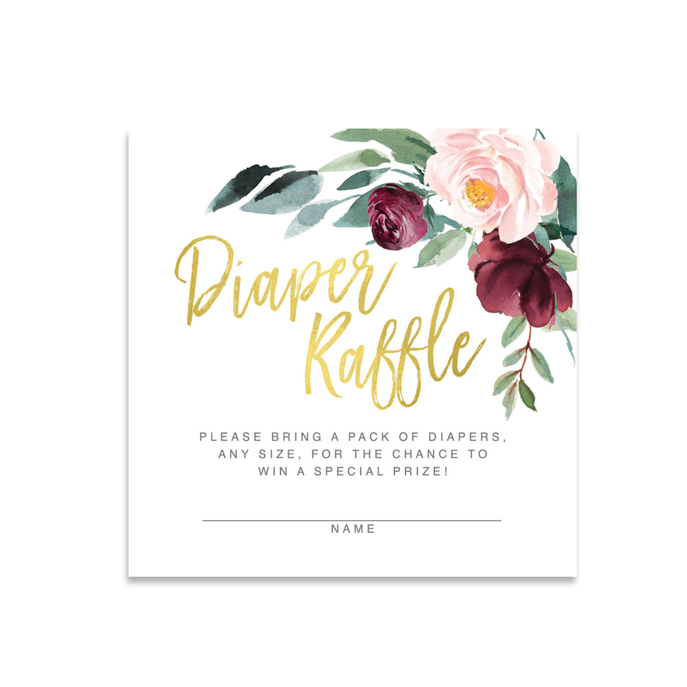 Odette: Diaper Raffle Enclosure Card {Gold}