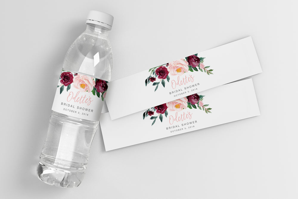 Odette: Water Bottle Label {Pink}