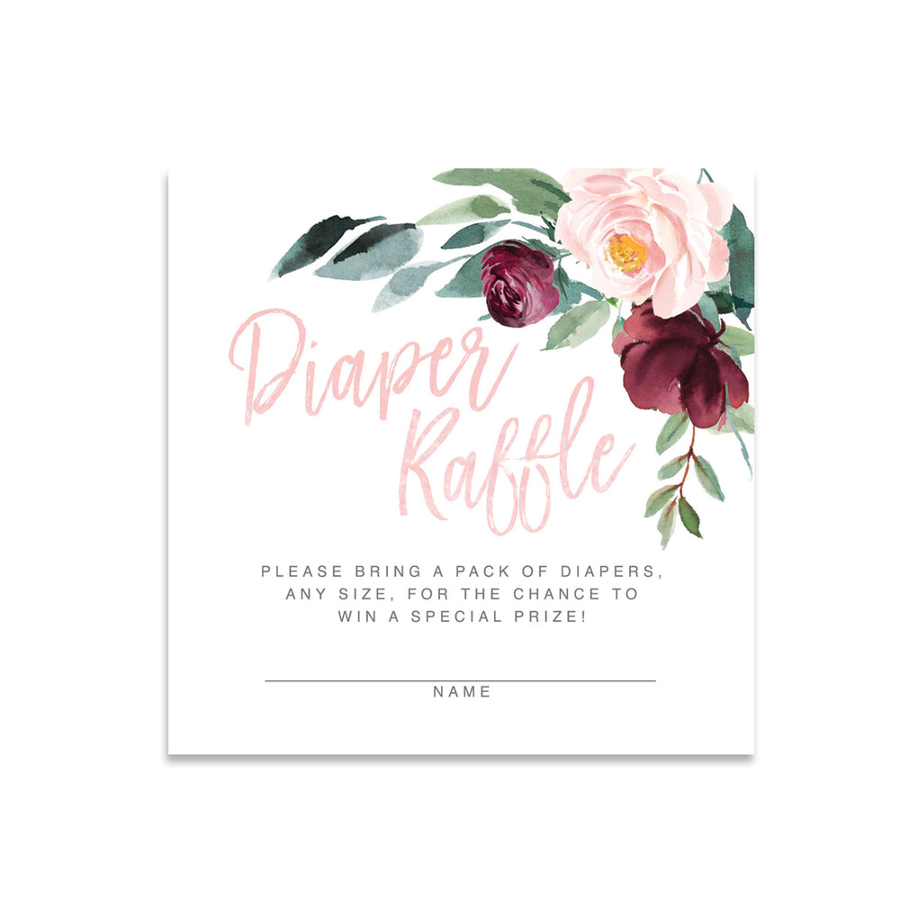 Odette: Diaper Raffle Enclosure Card {Pink}