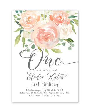 Elodie: Floral First Birthday Invitation