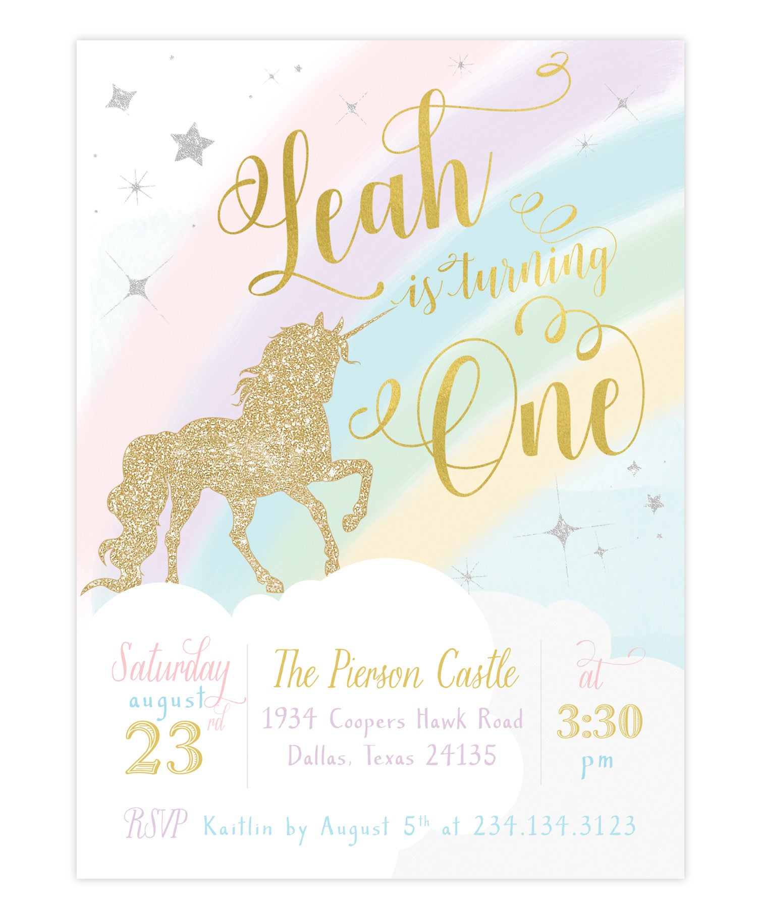 Unicorn First Birthday Invitation Girls 1st Invite
