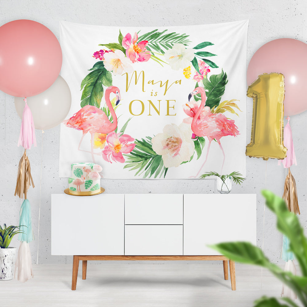 Maya: Tropical Flamingo Backdrop {Horizontal}