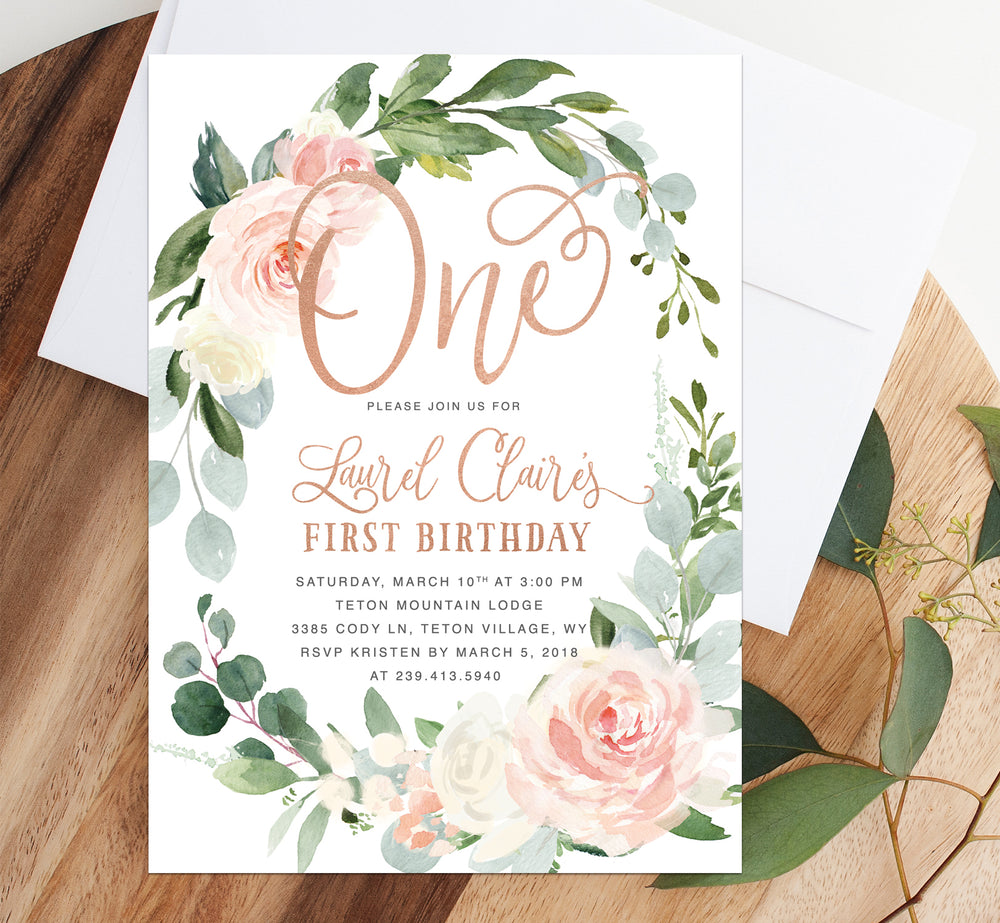 Laurel: Bunny Birthday Invitation {White and Rose Gold}