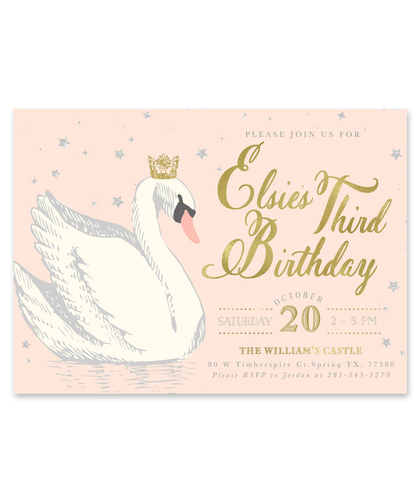 Elsie Swan Princess: Birthday Invitation {Blush Pink, Gold & Silver}