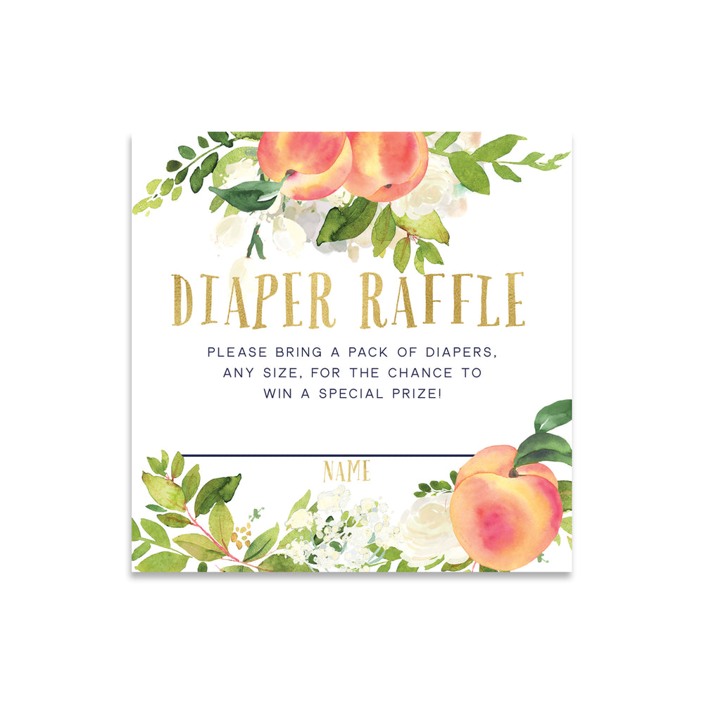 Peach: Diaper Raffle Enclosure Card {Gold}