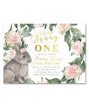 Penny: Some Bunny Is Turning One, Birthday Invitation {Floral}