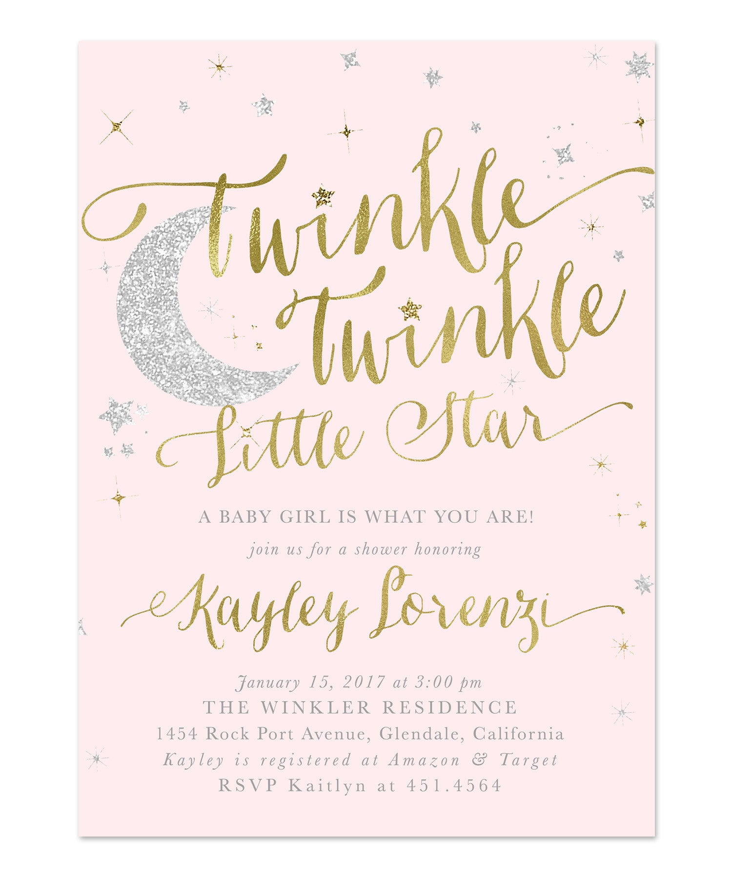 Twinkle Twinkle Little Star Girl Baby Shower or Sprinkle Invitation ...
