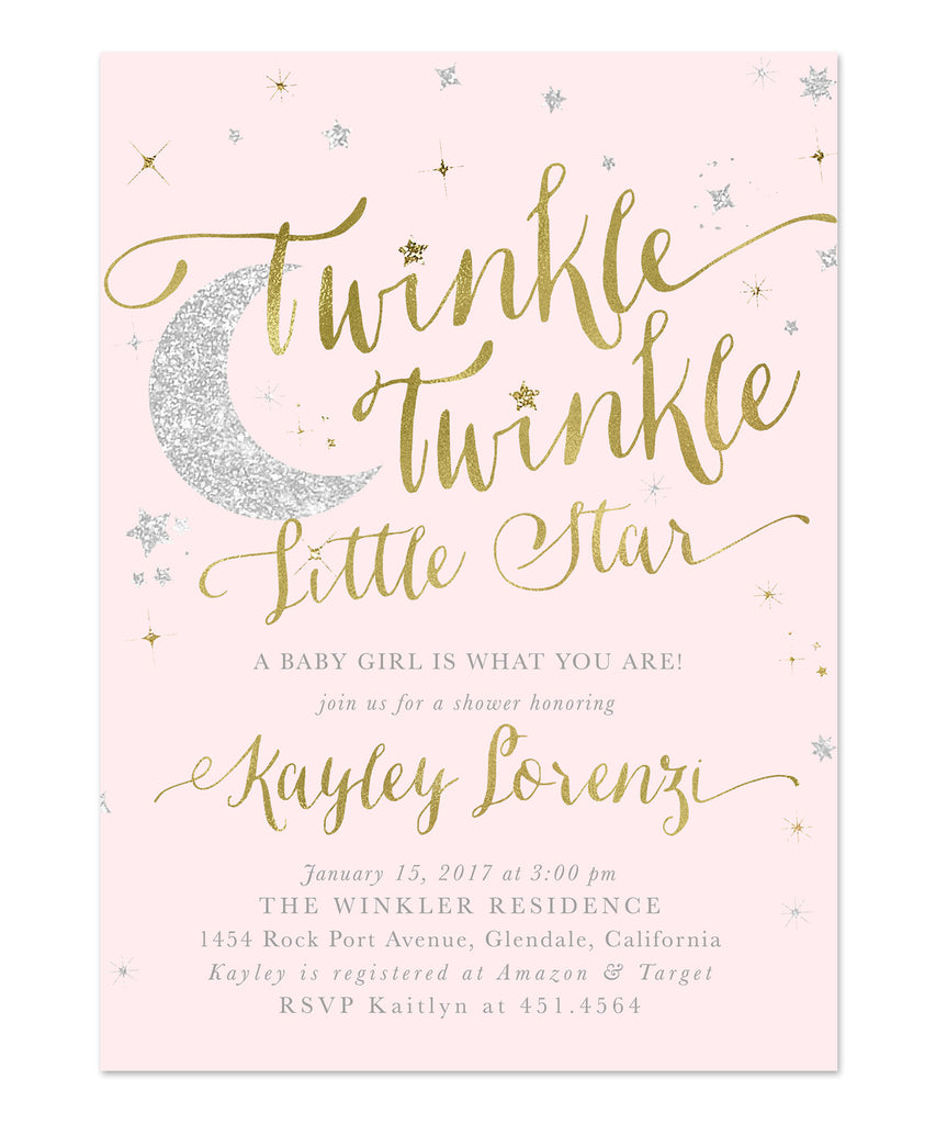 Twinkle Twinkle Little Star Girl Baby Shower Invitation {Pink}