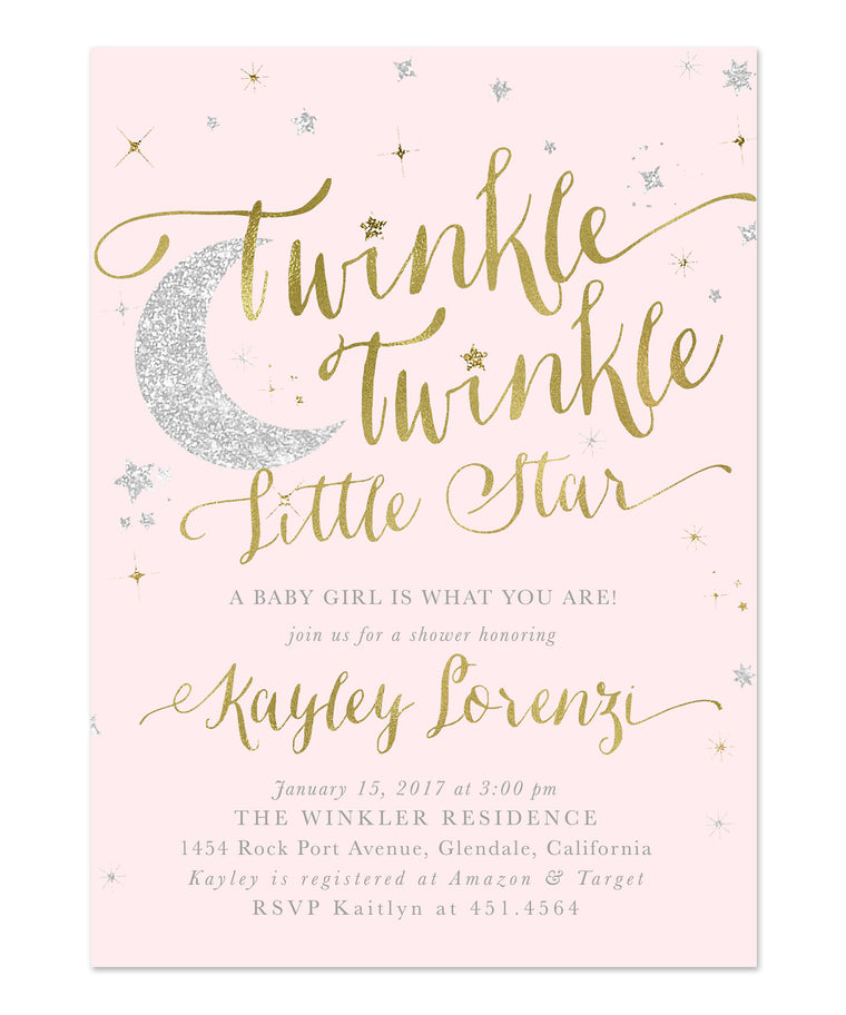 Baby shower invitations tagged girl baby shower sea paper designs twinkle twinkle little star girl baby shower invitation pink filmwisefo