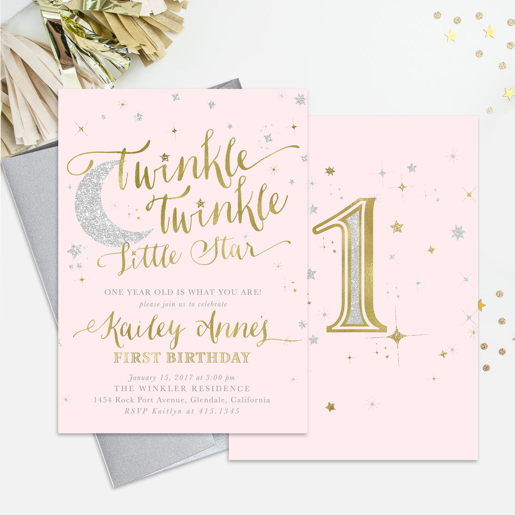 Twinkle Little Star Girl Birthday Invitation {Blush Pink}